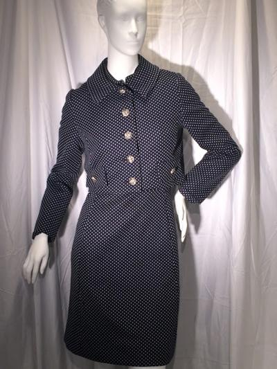 Women's Vintage Blue Short Sleeve Dress, with White Polka Dots and Matching Blazer, size 5