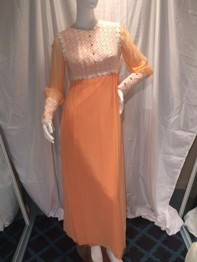 Women's Tangerine 70's Long Dress with Long Sleeves and Lace, size 9