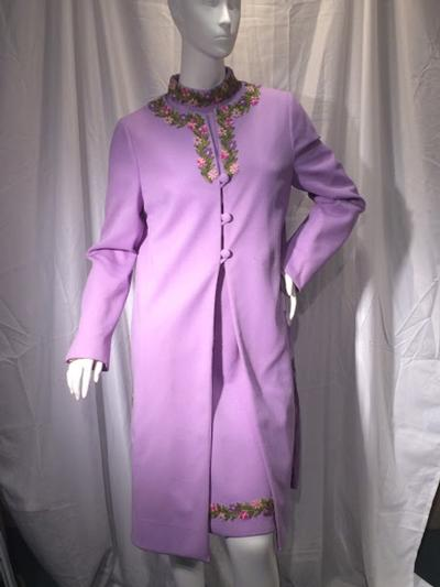 Women's Vintage Lavender Short Sleeve Dress and Matching Long Coat, size 9